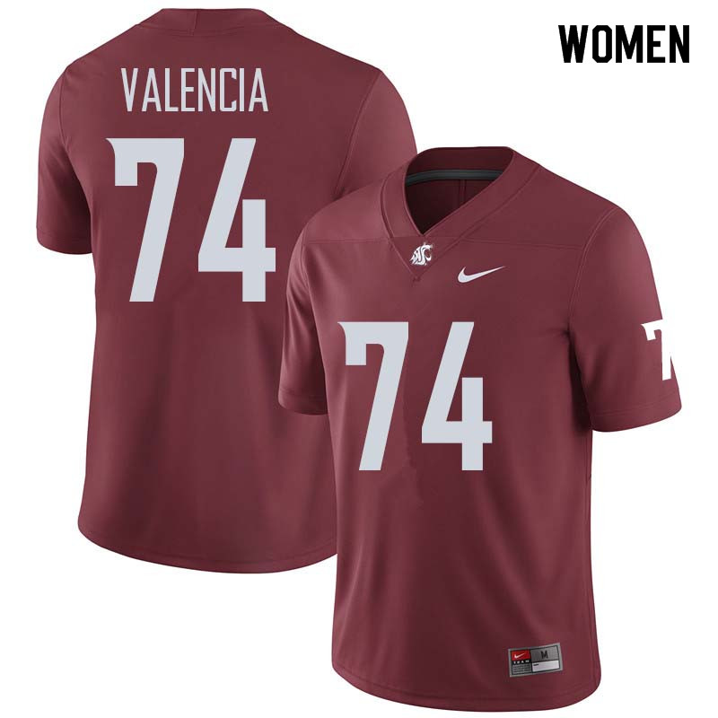 Women #74 Robert Valencia Washington State Cougars College Football Jerseys Sale-Crimson